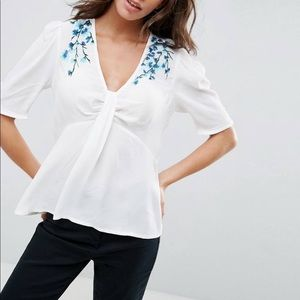 ASOS White Blouse with Blue Embroidery
